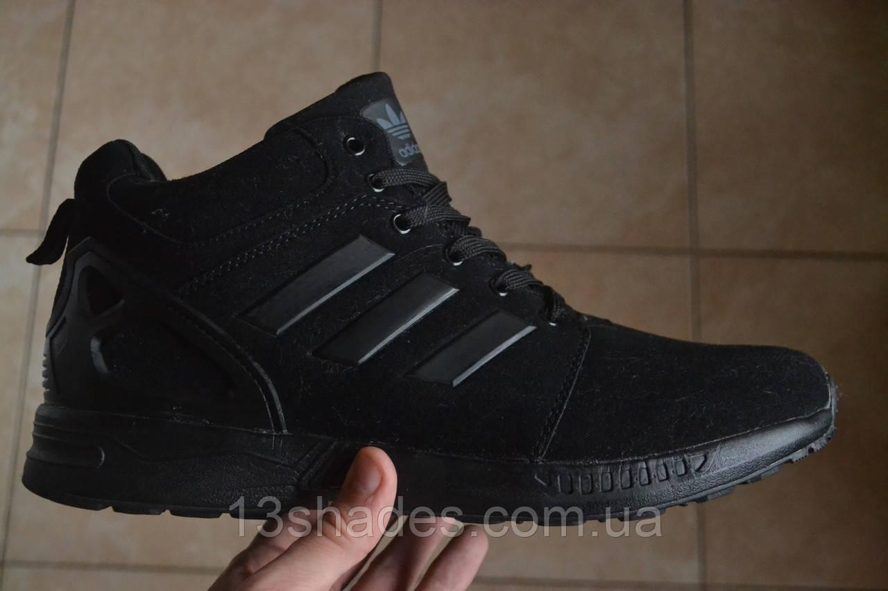 33b8cab0c Кроссовки зимние мужские Adidas ZX Flux winter (чёрные): продажа ...