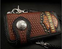 Мужской байкерский кошелёк из натуральной кожи, подарок мужчине байкеру