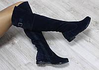 Зимние натуральные замшевые сапоги-ботфорты темно-синие