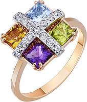 Кольцо золотое c цветными полудрагоценными камнями