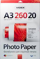 Фотобумага Videx глянцевая ( формат А3, плотность 260 г/м2 односторонняя глянцевая ) 20 листов