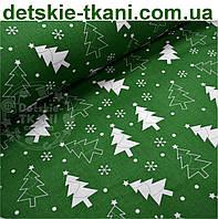 Новогодняя ткань зелёного цвета с ёлками № 457а