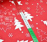 Новогодняя ткань красного цвета с ёлками № 458а, фото 2