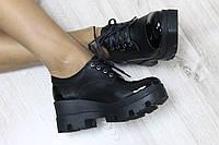 Туфли кожаные черные на тракторной подошве, носик и пяточка лак