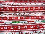"""Новогодняя ткань красного цвета """"Олени с орнаментом"""" № 460а, фото 3"""