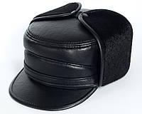 Теплая мужская кепка (жириновка) из искусственной кожи с длинными ушами 60