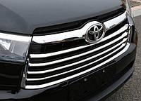 Toyota Highlander XU50 2014 накладки хром на решетку радиатора SS