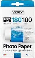 Фотобумага Videx глянцевая ( формат 10х15 см, плотность 180 г/м2 односторонняя глянцевая ) 100 листов