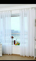 Готовые Шторы комплект для спальни из легкой ткани вуаль белая 4 м.