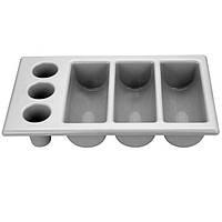 Контейнер для столових приладів GN 1/1, 6 секцій, сірий, 530x325x105 мм, Hendi
