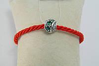 Шарм серебряный типа Pandora с зелеными фианитами