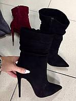 Модные польские полусапожки на шпильке черные,бордо,светлосерые  в наличии