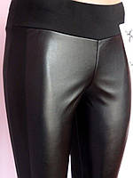 Модные  женские легенсы с кожей на байке