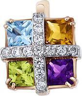 Серьги золотые c цветными полудрагоценными камнями 2321