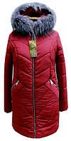 Модный зимний женский пуховик с мехом чернобурки