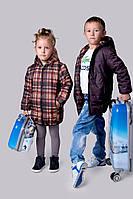 Детская удлиненная курточка двухсторонняя девочка+мальчик, на рост ( от 122 см-до 146 см)