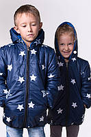 Детская удлиненная курточка двухсторонняя девочка+мальчик, на рост ( от 98 см-до 122 см)
