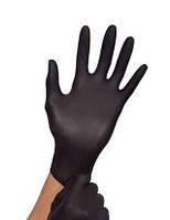 """Перчатки """"XS"""" черные (100 шт/50 пар) нитрил. сверхпрочные текстурированные на пальцах Medicom"""