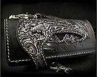 Мужской эксклюзивный кошелёк Пиратский натуральная кожа, подарок мужчине байкеру