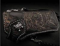 Мужской эксклюзивный кошелёк Пираты натуральная кожа, подарок мужчине байкеру