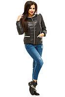 """Стильная черная короткая курточка """" Казино """"с карманами . Арт-8751/74"""