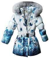 """Детская зимняя куртка-пальто """"Цветочная поляна"""", на 5-8 лет, голубая"""