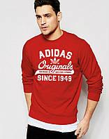 Спортивная кофта Адидас, Мужская кофта Adidas, красная, трикотажная, реглан, свитшот
