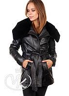 Кожаная куртка длинная с мехом кролика, фото 1