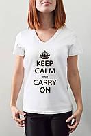 "Женская футболка ""Keep calm and carry on"""
