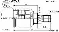Шрус внутренний левый FEBEST 0211SR20LH; GSP 241025; NISSAN 391012F210; ASVA NSILEP20, NSDL005