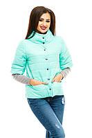 Мятная модная  курточка на кнопках, с карманами . Арт-8752/74