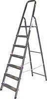 Лестница-стремянка стальная 7-ступенчатая (высота до площадки - 1,54 м, рабочая высота 3,84 м)