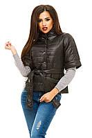 Черная  модная  курточка на кнопках, с карманами . Арт-8752/74