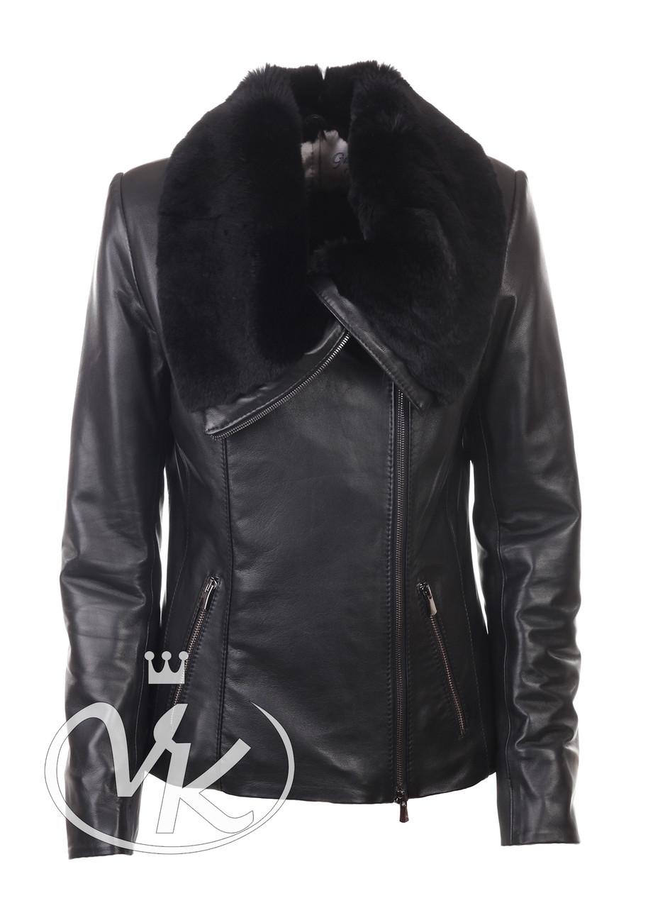 Кожаная куртка с мехом кролика женская утепленная (Арт. MON201)