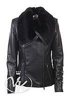 Черная кожаная куртка с мехом , фото 1