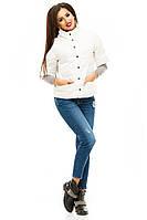 Модная  курточка на кнопках, с карманами, цвет молочный. Арт-8752/74