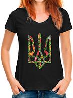 Женская футболка патриотическая с цветочным гербом Украины