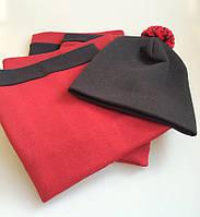 Утепленный комплект на ребеночка бордо с черным. ОГ 50, 52, 54, 56 см
