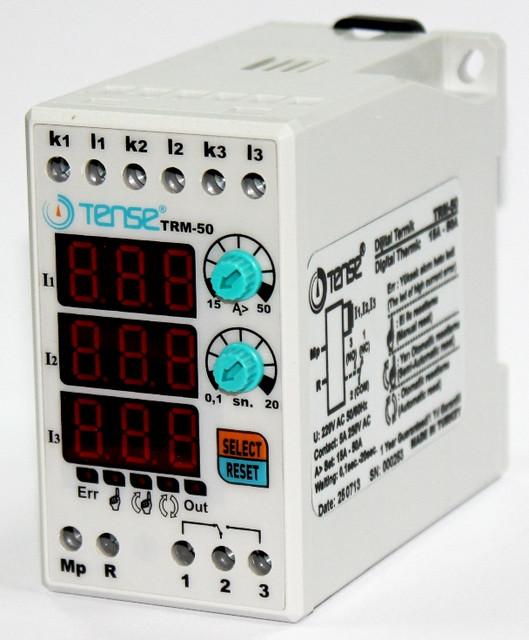 Реле тока контроля / ограничения по току нагрузке 3-х фазные TENSE диапазон 15-50A цена купить