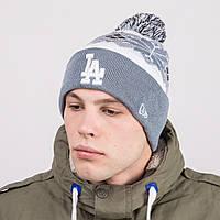 Мужская молодежная шапка с помпоном - LOS ANGELES - Артикул 8809