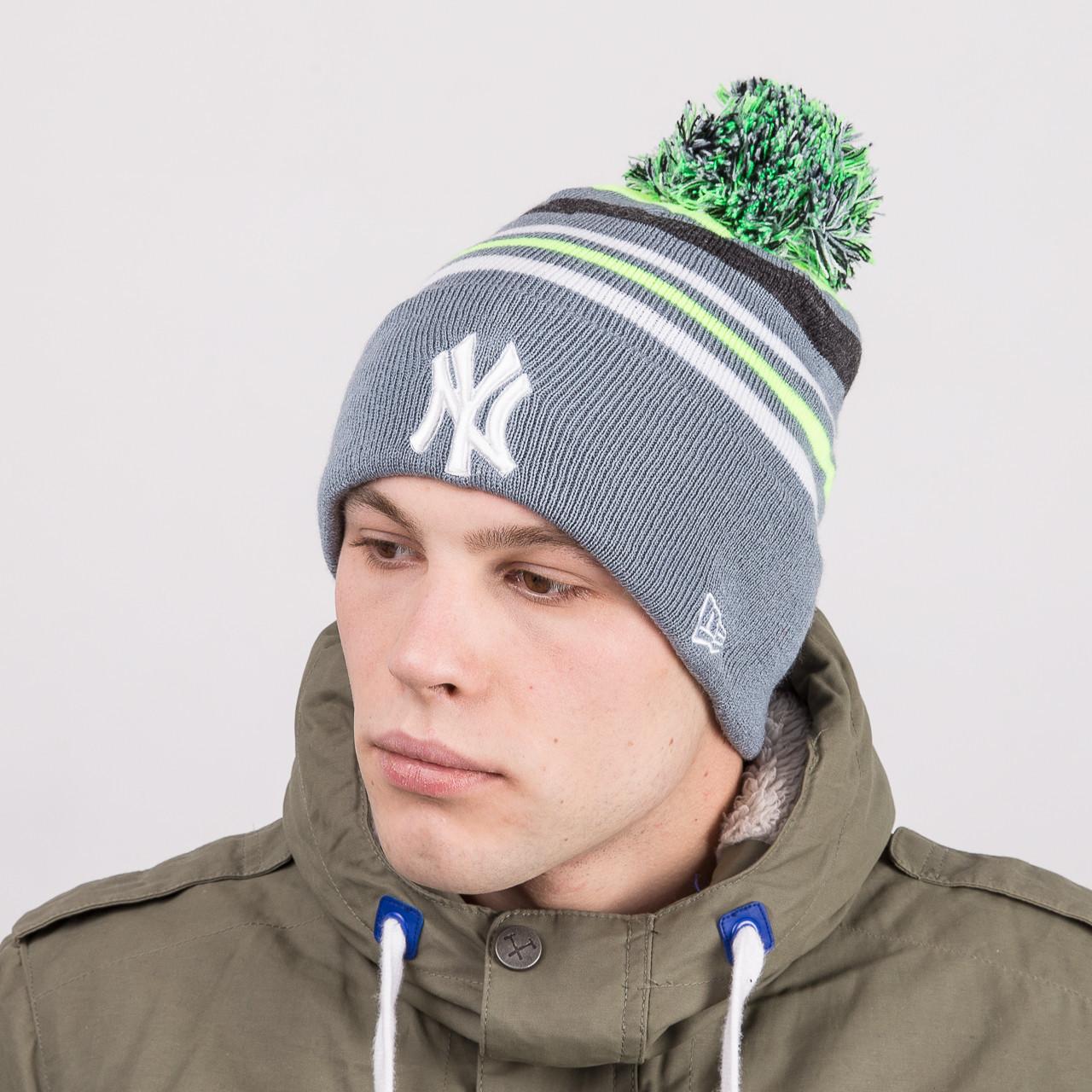 Мужская брендовая шапка с помпоном - New York (NY) - Артикул 8815