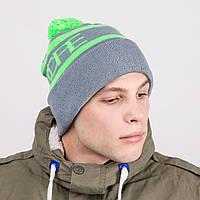 Брендовая мужская шапка с помпоном - Артикул 8811