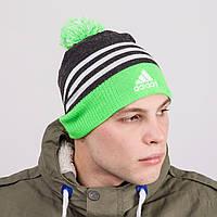 Спортивная зимняя мужская шапка с помпоном - Adidas - Артикул 8812