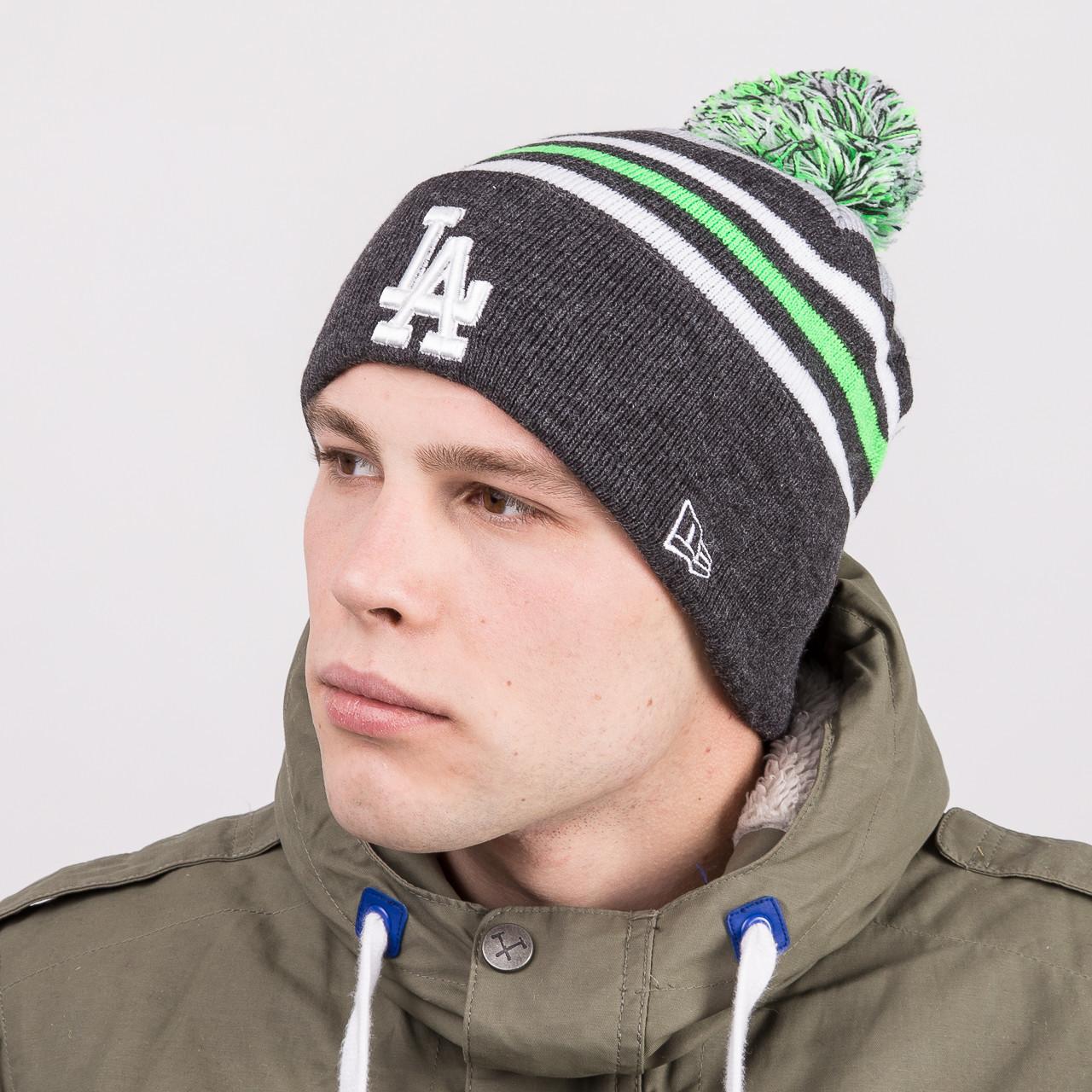 Модная зимняя мужская шапка с помпоном - LOS ANGELES - Артикул 8824