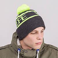 Стильная зимняя мужская шапка с помпоном - Артикул 8820