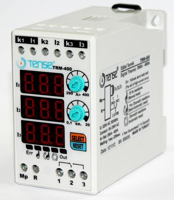 Реле контроля тока электронное максимального тока ограничения нагрузки TENSE 3х фазное 290-400A цена купить