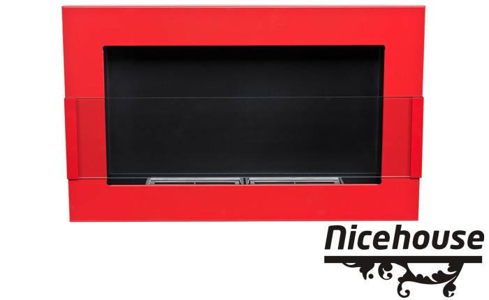 Биокамин Nice-House 65x40 см, красный, с стеклом, фото 2