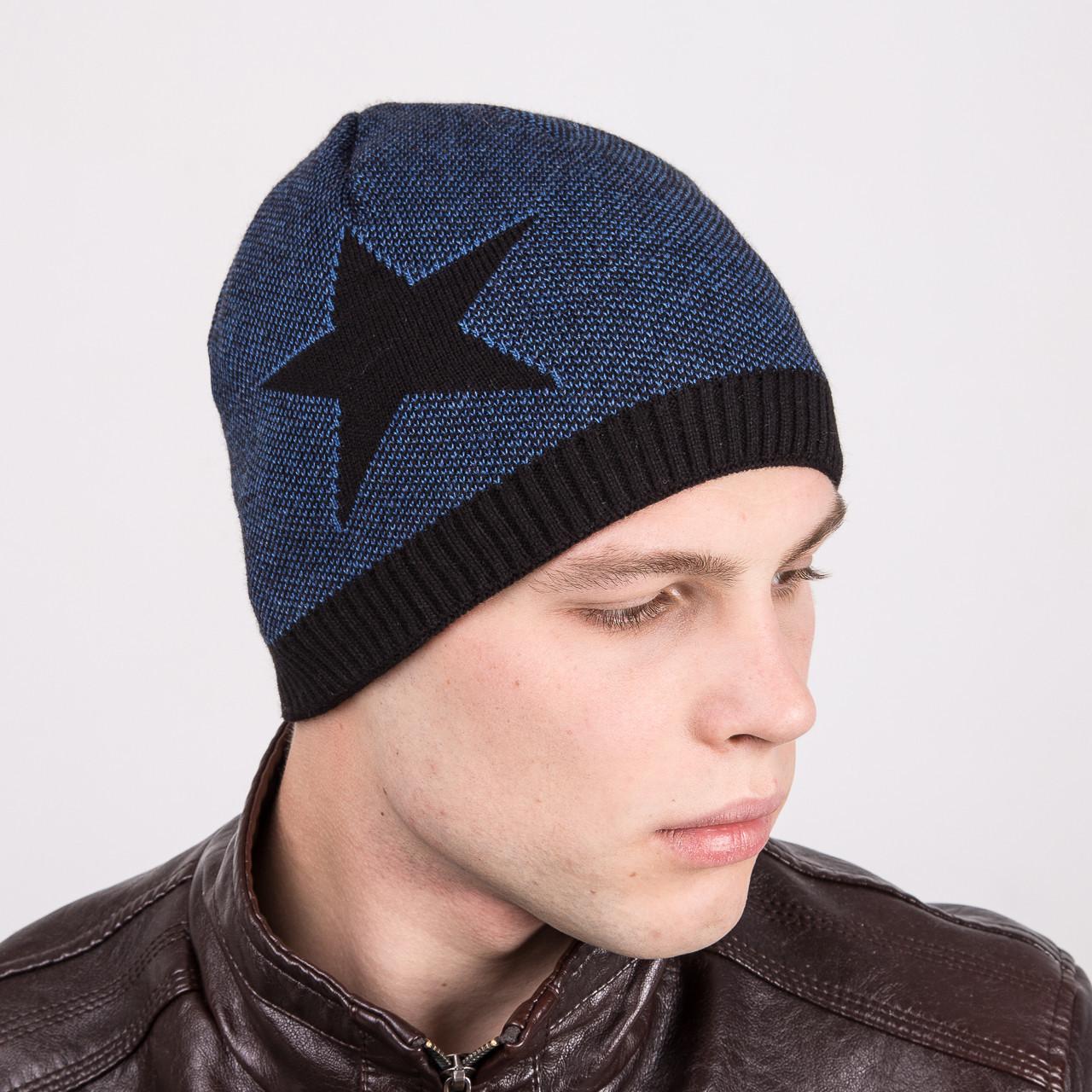купить мужскую вязаную шапка колпакдвойную на флисе артикул M8a по