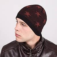 Вязаная шапка-колпак для мужчин двойная на флисе - Артикул m9a