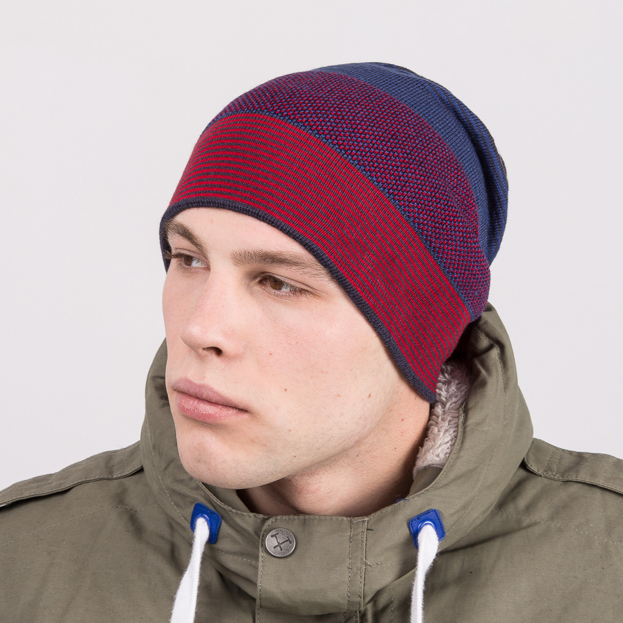 Мужская вязаная шапка колпак на зиму - Артикул m63d